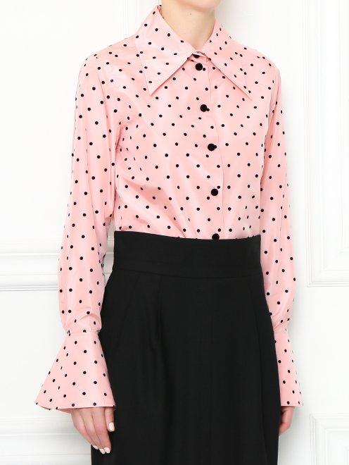 Блуза из шелка с узором горох - МодельВерхНиз