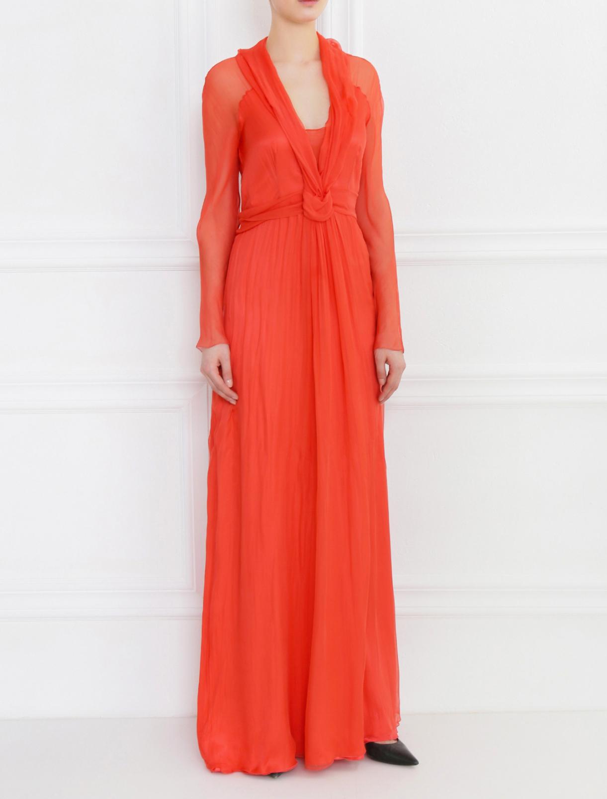 Платье-макси из шелка с драпировкой Alberta Ferretti  –  Модель Общий вид