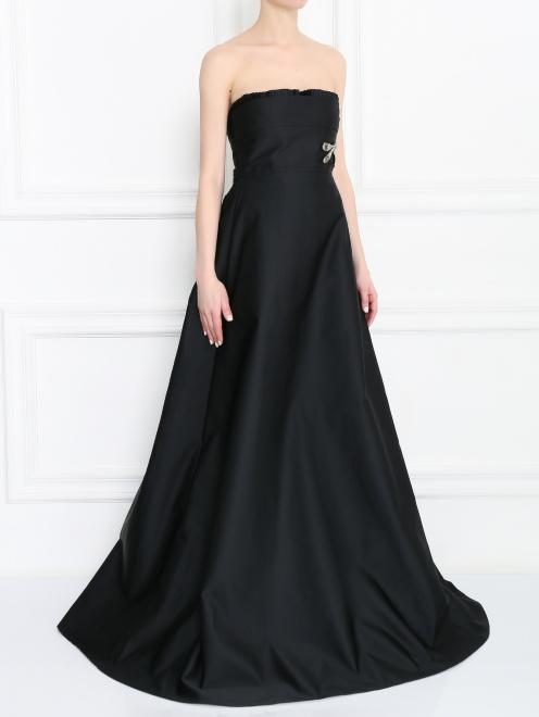 Платье-макси с декоративной аппликацией - МодельВерхНиз