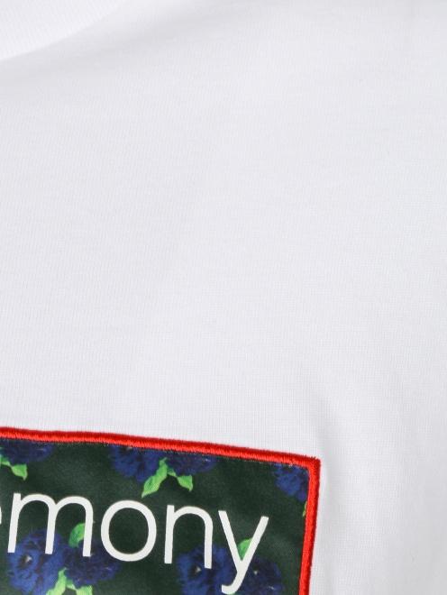 Укороченная футболка из хлопка с принтом - Деталь1