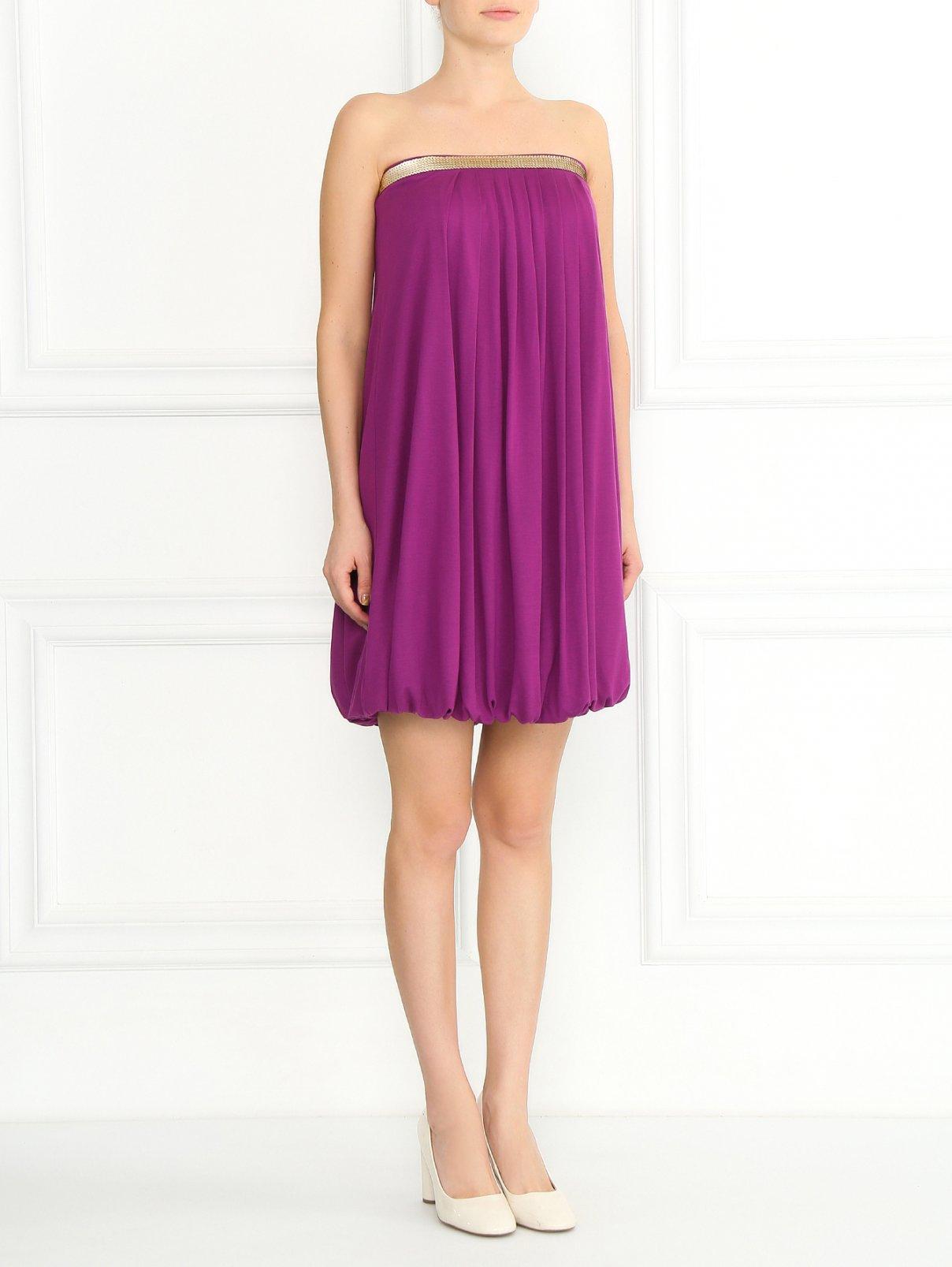 Трикотажное платье-мини с драпировкой и пайетками La Perla  –  Модель Общий вид  – Цвет:  Фиолетовый