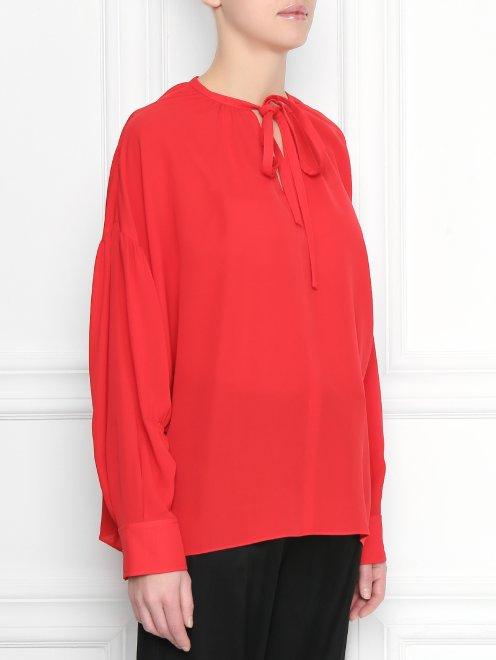 Блуза из шелка свободного силуэта - МодельВерхНиз