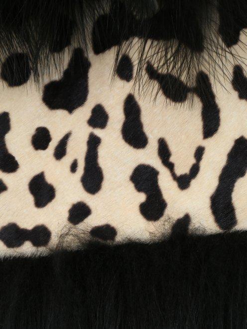 Пальто из шерсти со вставкой из меха и кожи - Деталь2