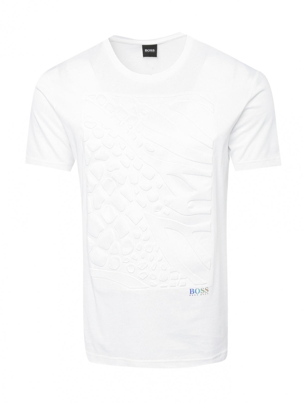 Футболка из смешанного хлопка с логотипом Boss  –  Общий вид  – Цвет:  Белый